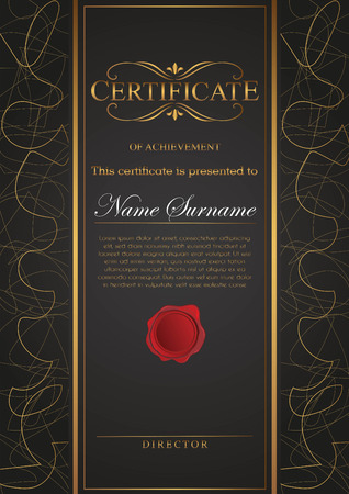 Certificate black and gold color