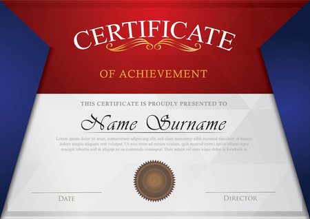 Certificate red, grey and blue color combination Ilustrace
