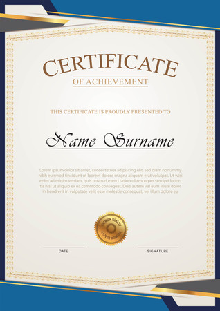 Certificate elegant with blue color
