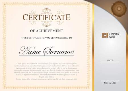 certificate with side border on gold Ilustrace