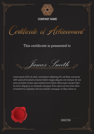 certificate with simple border black Ilustrace