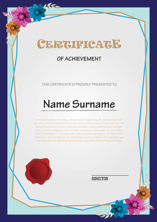 Certificate with flower decoration Ilustrace