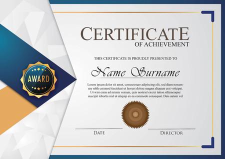 certificate elegant blue Çizim