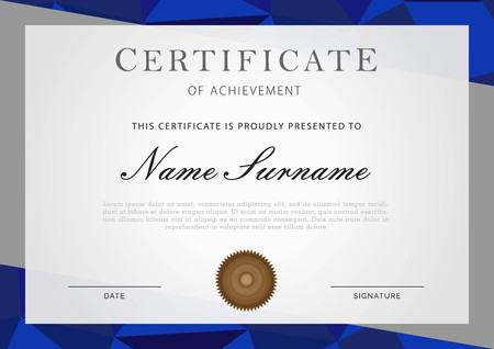 certificate with border in blue and gray Imagens - 117565139