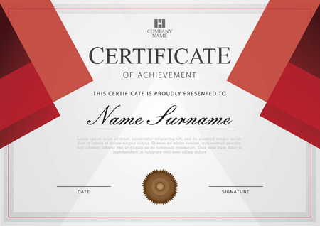 Certificate modern style on red color