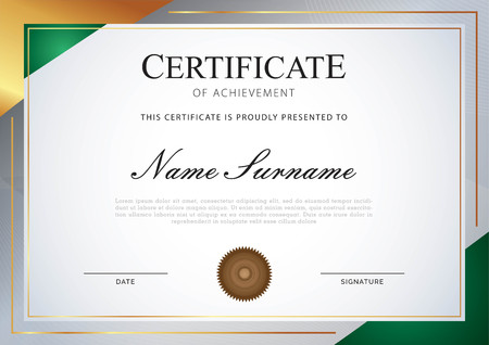 certificate with gold and gradient background