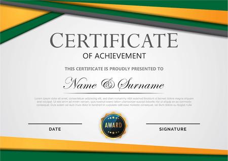 certificate template green orange