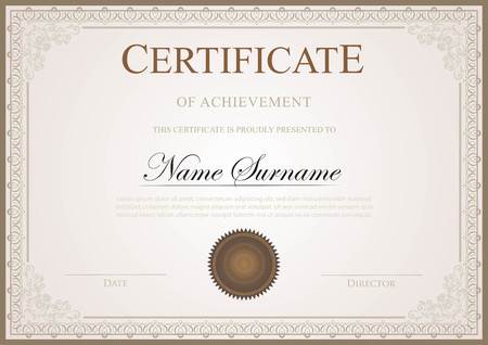 Vintage certificate template with border