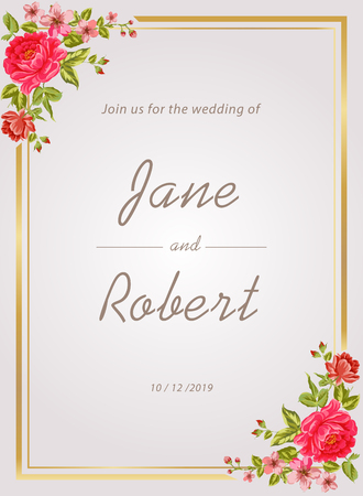 Weeding invitation template with floral water color vector