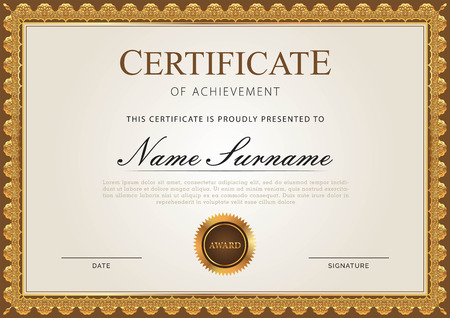 Certificate template with border Ilustrace