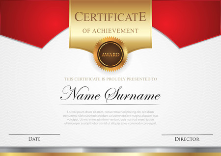 Certificate template with gold element