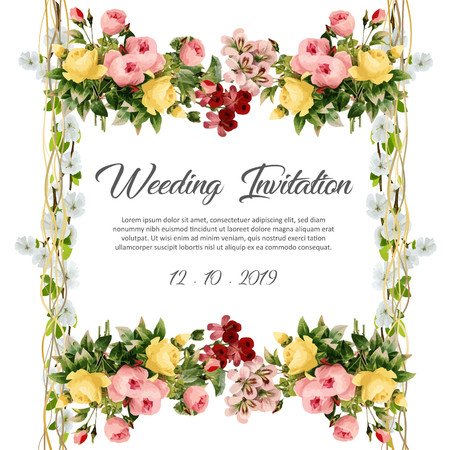 Floral frame wedding invitation with text Imagens - 117565189