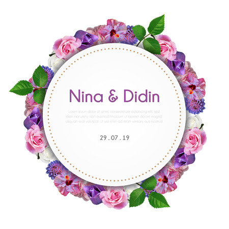 Floral frame wedding invitation with text Imagens - 125151601
