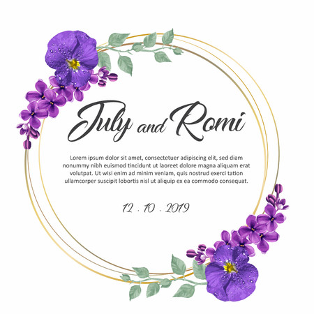 Floral frame wedding invitation with text Imagens - 125151603