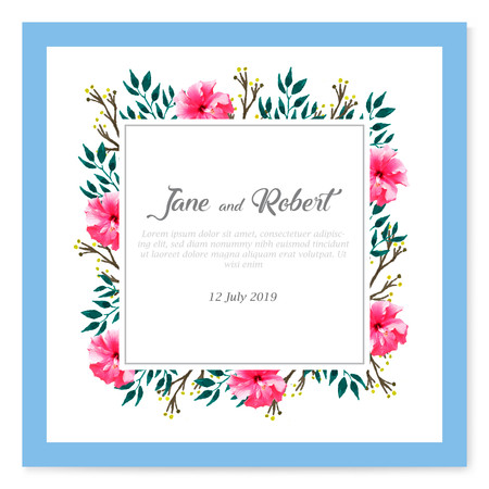 Floral frame wedding invitation with text