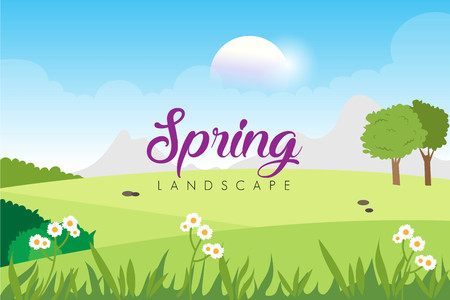 Spring landscape with floral template Ilustrace