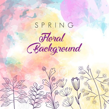 Spring floral background template Imagens - 125151608