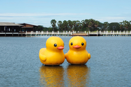 giant inflatable rubber duck stock photo picture and royalty free