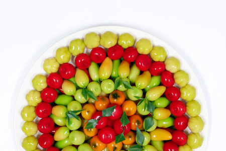 Thai dessert mung beans fruit shaped, kanom look choup.