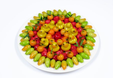 Thai dessert mung beans fruit shaped, kanom look choup.