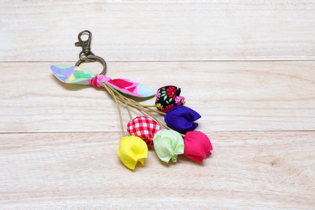 Handmade Keychain Tulip made from cotton.