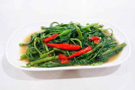 Stir-Fried Chinese Morning Glory (phad puk boong fri dang)