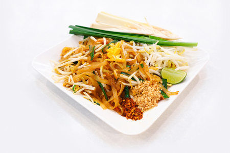 bean sprouts: Thai Fried Noodles with egg and dried shrimp (Pad Thai) Stock Photo