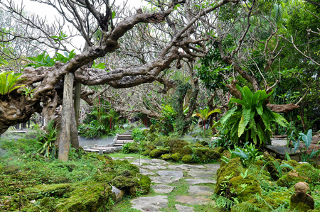 Place for meditation in the garden, for people.