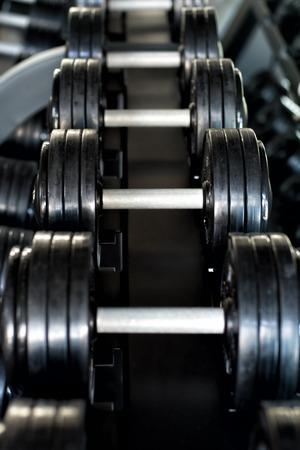 a few sport dumbbells in a gym Reklamní fotografie