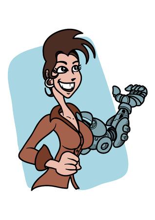 A happy business woman cyborg saying: hello 向量圖像