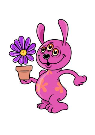 Mutant rabbit gets a flower 向量圖像