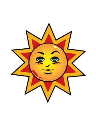 Happy sun symbol isolated over white background