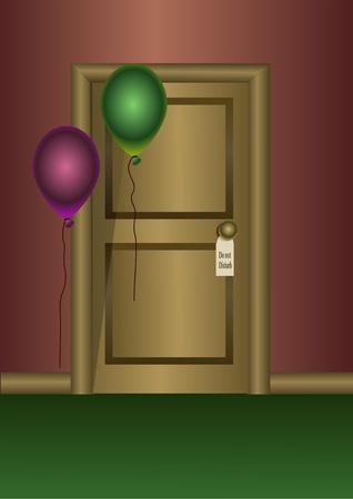 Wooden door with ballons 向量圖像