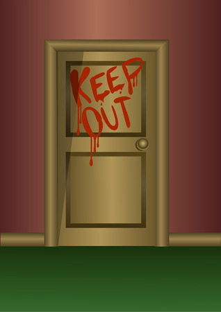 keep out: Wooden door with the words keep out writen with blood or some red liquid Illustration