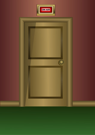 Wooden door with ON AIR sign