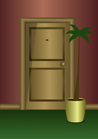 condo: Wooden door in frontal view with a plant
