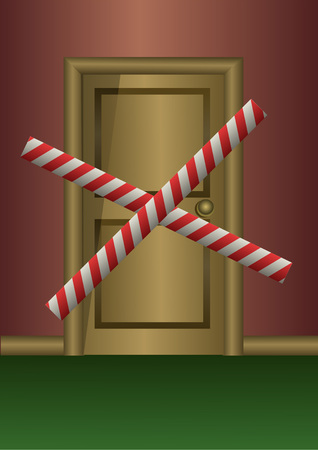 sealing tape: Wooden door sealed with sealing tape Illustration