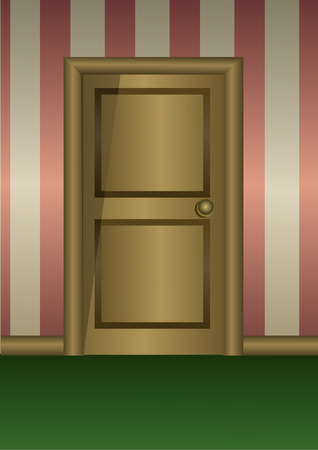 wooden door on striped wall. Room entry or hotel corridor