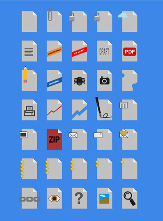 A collections of color document icons for any purpose. Vector Illustration