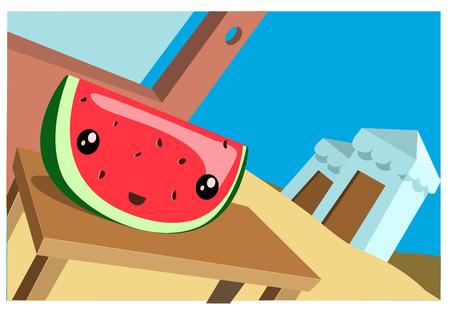 watermelon on a table with a summer beach background. Vector Illustration 向量圖像