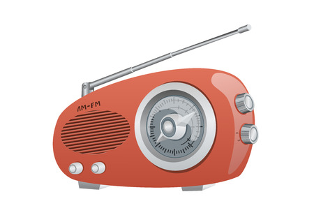 A Vintage AM FM Radio. Vector Illustration