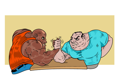 Two guys practicing arm wrestling. Vector Illustration