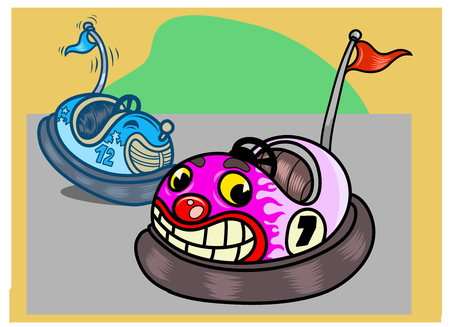 Two funny bumper cars in cartoon style. Vector Illustration