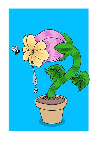 A hungry carnivorous flower looking at a fly. Vector illustration