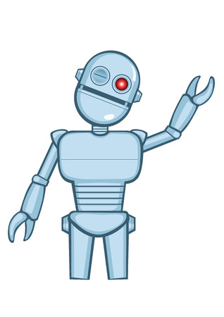 A isolated metallic robot saying hello. Vector illustrator