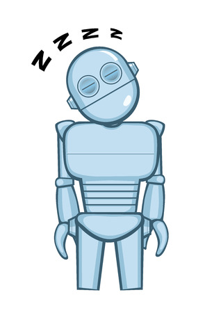 A metallic robot sleeping. Vector illustration 向量圖像