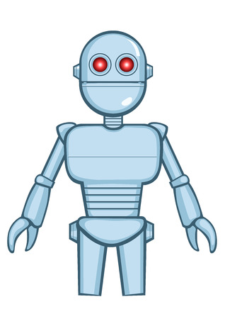 A isolated metallic vintage robot in idle position. Vector illustration
