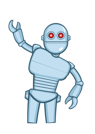 Metallic cartoon robot in action pose. Vector illustration