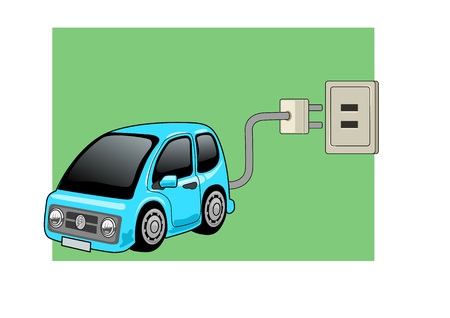 Electric tiny car with a plug: Vector illustration nice to illustrate energy related topics 向量圖像