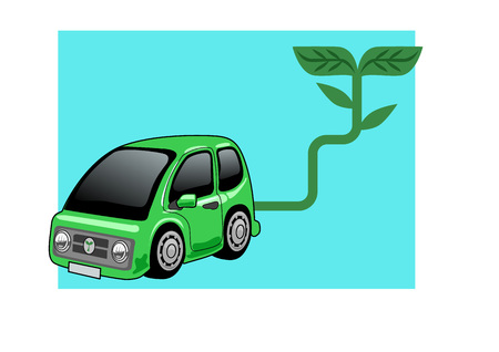 Green car, Vector Illustration of a tiny car fueled by green energy